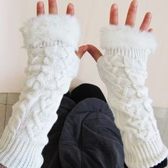 Fingerless Gloves Arm Warmer Extra Long Winter Fuax Fur Mittens Knitted Ribbed- those look comfy