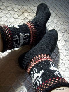 Night of reindeer Handknit Wool boot socks Mens by LuckyPawsCrafts