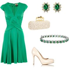 """Now, THIS IS STYLE...Clinched Waist Slims Even We Middle Aged Ladies...The """"V"""" Neck Is Perfect For Showing Off A Long Neck Or Lengthening A Short One...Shoes, Neutral & Perfect Pump...Love The Emerald Green, Too...I Shall Be Looking For Something Similar For Spring/Summer 2013 Dress-Up Occassions....Love This!!"""
