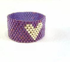 Seed Bead Ring: Purple Beaded Heart Ring, Thumb Ring, UK Seller. £11.46, via Etsy.