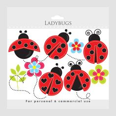 Ladybug clipart - stitched ladybugs clip art, lady bugs, cute, whimsical, insects, bugs, buggy, flowers, leaves, floral. $3.40, via Etsy.