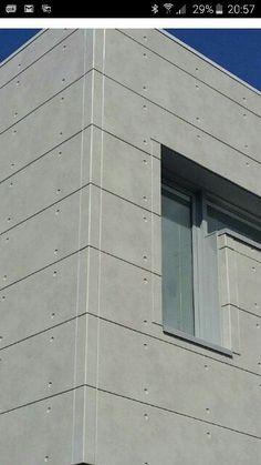 An easy external cladding in fibre cement Cladding Design, House Cladding, Wall Cladding, Facade House, Cladding Ideas, Concrete Siding, Precast Concrete, Modern Exterior, Exterior Design