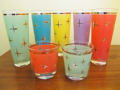 Mid-Century Modern multicolored starburst drinking glasses
