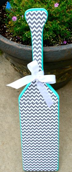 Teal and Chevron Preppy Paddle by KraftsbyKristie on Etsy, $45.00