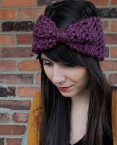 Crochet Earwarmer Headband Big Hair Bow in Fig Purple Winter Accessory Fall Fashion. $20.00, via Etsy.