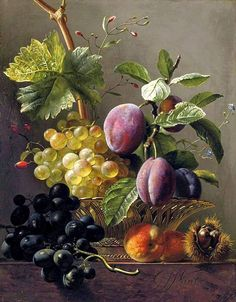View Grapes, prunes, peaches and a chessnut on a ledge by Georgius Jacobus Johannes van Os on artnet. Browse upcoming and past auction lots by Georgius Jacobus Johannes van Os. L'art Du Fruit, Plum Fruit, Fruit Art, Fruit Cakes, Fruit Painting, China Painting, Still Life Fruit, Dutch Painters, Painting Still Life