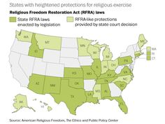 How many states already provide heightened protection for the exercise of religion?  The answer? Thirty-one, 18 of which passed state laws based on the1993 federalReligious Freedom Restoration Act. The protections in an additional 13 states came through court rulings. Here's a map of which states have added protections and which do not: