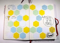 """This is a new spread for my bujo... I'm writing a fact a day. Things I read or learn that I don't wish to forget. And if you're wondering what is on the right bottom corner, that's the cuttlefish eye, which is the only one with a """"w"""" shape ... If you want to know the other ones just ask"""
