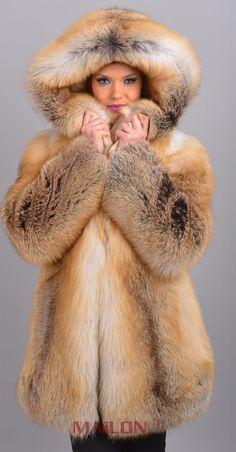 GOLDEN ISLAND FOX FUR JACKET COAT PARKA SAGA FURS FINLAND FUCHS LYNX OUTLET NR! | eBay