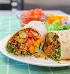 Vegan Fiesta Wraps are made with a delicious mixture of lentils and grated tempeh to replace the traditional ground beef filling.