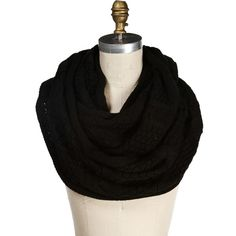 Black Cable Knit Infinity Scarf ($17) ❤ liked on Polyvore featuring accessories, scarves, black, cable knit shawl, cable knit circle scarf, loop scarf, infinity scarf and round scarf