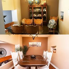 Simple staging can go a long way! Check out this before and after shot of Jill and Rod's dining room. We suggested some de-cluttering table rotation paint on chairs plant and artwork. Boom!  Check out the full transformation at shamiljessa.com  #1207grenoble #ottawa #orleans #home #house #homesforsale #realestate #staging #staginghomes #homestaging #homestagram #homestyle #diningroom #instagood #photooftheday #picoftheday #interiordesign #homedesign #ottawarealestate #realestatelife…