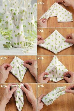 Make your own table decorations for Easter - 70 craft ideas for that special, personal touch - Easter bunny napkins fold table decoration make yourself - Ostern Party, Diy Ostern, Easter Crafts, Holiday Crafts, Easter Ideas, Decorative Napkins, Christmas Napkins, Christmas Christmas, Napkin Folding