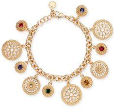 Charter Club Gold-Tone Multi-Stone Disc Charm Bracelet, Created for Macy's #womensfashion #women