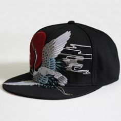 7ebb06a6311 2014 New Arrival Unisex Embroidery Red-crowned Crane Pattern Baseball Cap  Men Women Hip-hop Adjustable Snapback Hat-Black