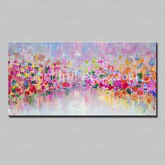 Pintada a mano Abstracto Pinturas de óleo,Modern Un Panel Lienzos Pintura al óleo pintada a colgar For Decoración hogareña - EUR €82.31