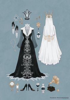 Super Ideas For Clothes Illustration Design Dresses Vintage Fashion Sketches, Fashion Design Sketches, Kleidung Design, Estilo Lolita, Illustration Mode, Drawing Clothes, Anime Outfits, Character Outfits, Character Design Inspiration