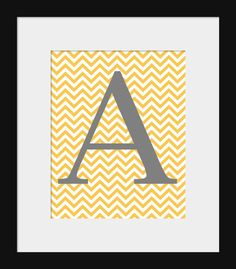 I'm pretty sure they have color options, maybe do a K or a C or W? Wall Decor Prints- Prints for Home- Chevron Monogram Initial Print 8x10- Gray and Yellow Decor