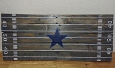 Custom Reclaimed Pallet Wood Sign NFL Team Midfield Logo Dallas Cowboys by… Reclaimed Wood Signs, Wood Pallet Signs, Pallet Art, Rustic Signs, Wood Pallets, Cowboy Room, Cowboy Theme, Dallas Cowboys Room, How Bout Them Cowboys