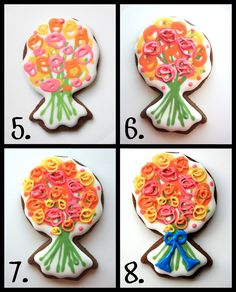 Flower Bouquet Cookies using upside down ring. Lots of wet on wet then add more flowers once dry