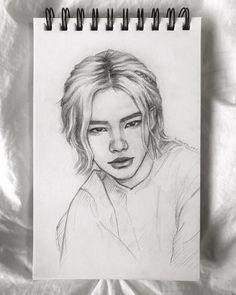 Kpop Drawings, Art Drawings Sketches Simple, Easy Drawings, Pink Drawing, Guy Drawing, Candle Drawing, Kpop Fanart, Disney Art, Asian Art