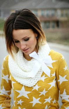 Short Ombre Hair, Graphic Sweater and Chunky Knit Cowl
