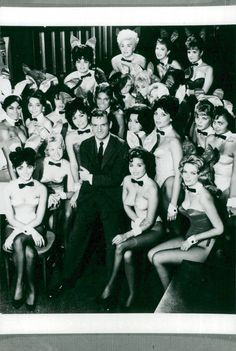 "Hugh Hefner with playboy bunnies. ""Once upon a time"" Original old rare original photographs. Purchase one to make your home an art gallery! Hugh Hefner, Playboy Bunny, Female Bodies, Vintage Photos, Bunnies, Photographs, Art Gallery, Japanese, Actors"