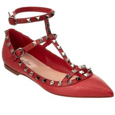 Valentino Valentine Rockstud Leather Ballerina Flat ($800) ❤ liked on Polyvore featuring shoes, flats, red, ballet flats, leather ballet flats, ankle strap flats, red ankle strap flats and red flats