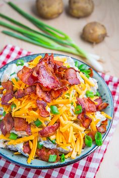 Loaded Baked Potato Salad - would healtify this with Greek yogurt, reduced fat cheese, and turkey bacon.