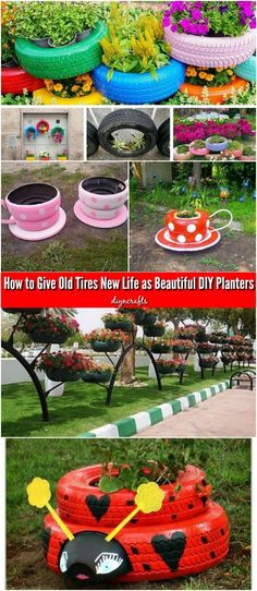 Tires new life as beautiful diy planters video painted tires, tire garden, garden Diy Art Projects, Diy Garden Projects, Garden Crafts, Diy Garden Decor, Garden Art, Garden Design, Garden Decorations, Diy Crafts, Recycled Crafts