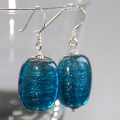 Copper lined glass and silver earrings - blue £10.00