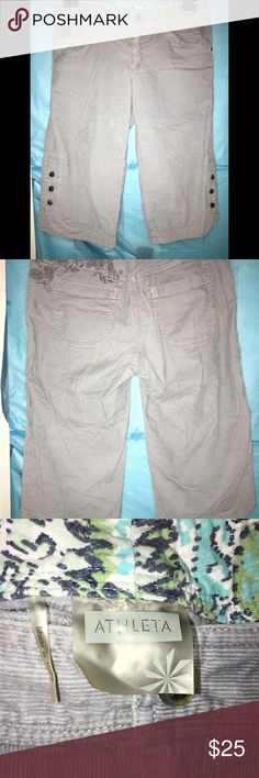 """[ATHLETA]Seaside Corduroy Sz6 Capri Crop Knee Pant Athleta """"Seaside"""" corduroy cropped pant/capri -Womens size 6 -Gray in color, darker gray embroidered flowers -In excellent condition, no flaws! Measurements are approximate and of the garment laid flat, unstretched.  Waist ~ 16"""" Rise ~8.5"""" Inseam ~16"""" Total length ~24"""" Athleta Pants Capris"""