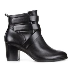 ECCO Shape 55 Ankle Boot $200.00  * Put a stylish foot forward in these strappy, mid-cut women's leather ankle boots * Direct-injected PU sole and 55mm (2.2 in) leather-wrapped heel for flexibility and durability * Light-as-air feel thanks to anatomical shank with PU sides * Extra support provided by molded foot bed * Quick-release closure for easy on-off