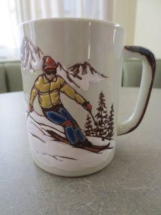 Vintage Mug, Skier Mug, Otagiri Mug, Coffee Cup, Ceramic Mug, Winter Sport Mug, Skiing, Made in Japan, via Etsy.