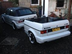 Trailers made from cars. I've yet to see one that looks good, at best they're odd, at worst downright ugly. Educate me. Convince me that they're not a lost cause. Vw Golf Cabrio, Volkswagen Golf Mk1, Vw Mk1, Golf Mk2, Trailer Tent, Trailer Plans, Custom Trailers, Vintage Trailers, Vw Camper