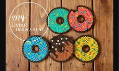 DIY: donut onderzetters van strijkkralen Some time ago we were a fan of Fimo Clay, a product we used Perler Bead Designs, Hama Beads Design, Diy Perler Beads, Hama Beads Patterns, Perler Bead Art, Pearler Beads, Fuse Beads, Beading Patterns, Bead Crafts