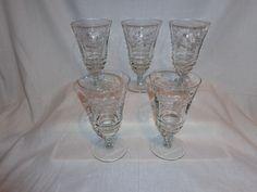 Vintage Glass Cut Vine Ice Tea Wine Water Cocktail Glasses (5)
