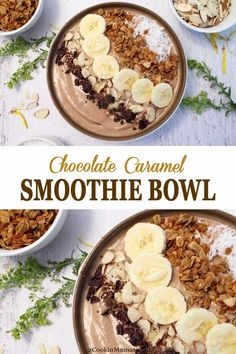 Chocolate Caramel Smoothie Bowl   2 Cookin Mamas This Chocolate Caramel Smoothie Bowl is a great way to start your morning, fuel up after a workout, or finish your day with a guilt--free dessert. It's a rich chocolaty combination of yogurt, almond butter, bananas, caramel coffee and a healthy servings of greens. So cool off this summer with this deliciously creamy bowl of goodness. #smoothie #healthy #yogurt #green #almondbutter #breakfast #protein #chocolate #recipe #smoothiebowl #easy…