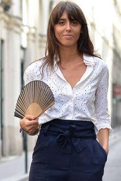 Eyelet Top - Summer Street Fashion in Paris - Elle