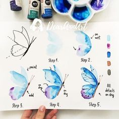 Learn to draw butterfly, instruction in five steps for beginners, Mali . watercolor painting Learn to draw butterfly, instruction in five steps for beginners, Mali Watercolour Tutorials, Watercolor Techniques, Watercolour Painting, Painting & Drawing, Watercolors, How To Watercolor, Drawing Techniques, Simple Watercolor, Watercolor Ideas