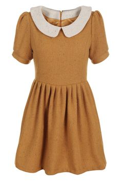 Peter Pan Collar Ginger Dress. Description Ginger dress, featuring a contrast peter pan collar and puff sleeves, zopper back, high waist, pleated lower, wollen fabric, retro and elegant feeling design. Fabric Dacron Washing 40 degree machine wash, low iron. #Romwe
