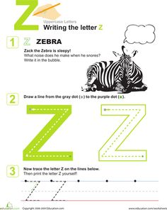 Preschool Kindergarten Letters Fine Motor Skills Handwriting Worksheets: Practice Writing the Letter Z Handwriting Sheets, Handwriting Worksheets, Letter Worksheets For Preschool, Preschool Letters, Alphabet For Kids, Learning The Alphabet, Alphabet Letters, Pre Writing, Writing Skills