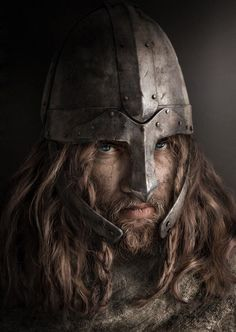 3D Rendering by Silvia Fusetti, helmet, male, man, warrior, blue eyes, long hair, beard, fantasy art, beautiful, intense, lines, strokes.