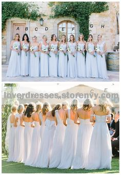 Mismatched Different Styles Chiffon Light Blue Sexy A Line Floor-Length Cheap Bridesmaid Dresses, WG104 #bridesmaiddresses #wedding