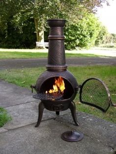 Large Oxford 120cm Bronze Cast Iron/Steel Mix Chiminea Chimenea with Swing Out Grill BBQ: Amazon.co.uk: Garden & Outdoors