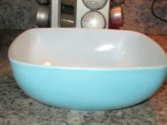 Pyrex 025 Square Turquoise Chip Bowl by thetrendykitchen on Etsy, $15.00