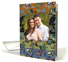 Thank You Photo Card, Paisley Quilt Pattern, Beautiful and Elegant! card
