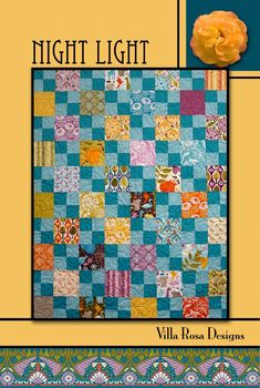 "NIGHT LIGHT 36""x45"" Beginner Patchwork Wall Crib Quilt Quilting Pattern 5"" Charm Square Scrap Friendly Villa Rosa Pat Fryer Beginner's MOD"