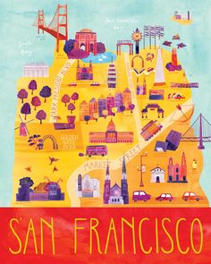"Illustrated San Francisco Map, 16"" x 20"", Digital Print. $65.00, via Etsy."