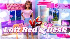 Ideas Doll Diy Furniture Barbie Bunk Bed For 2019 Loft Bed Desk, Bunk Bed, Barbie Dolls, Barbie Stuff, Doll Stuff, Barbie Hair, Barbie Clothes Patterns, Doll Patterns, Doll Clothes